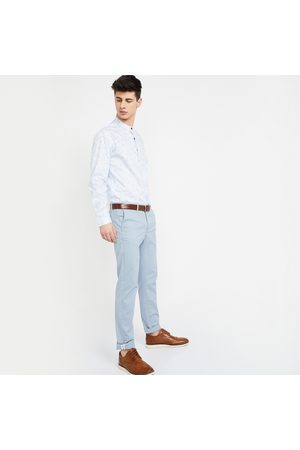 Indian Terrain Solid Brooklyn Fit Flat-Front Chinos