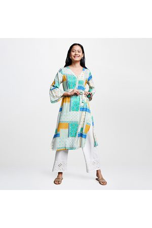Global Desi Women Printed V-neck Straight Kurta