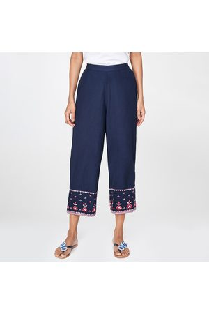 Global Desi Embroidered Elasticated Straight Pants