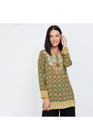 Biba Printed Notched-Neck Kurti