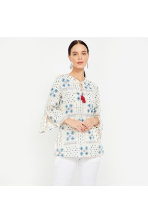 Global Desi Printed Top with Bell Sleeves