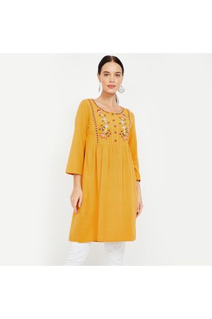 Global Desi Floral Embroidery Tunic with Button Placket