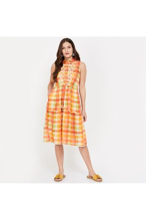 Global Desi Checked Sleeveless Midi Dress with Floral Embroidery