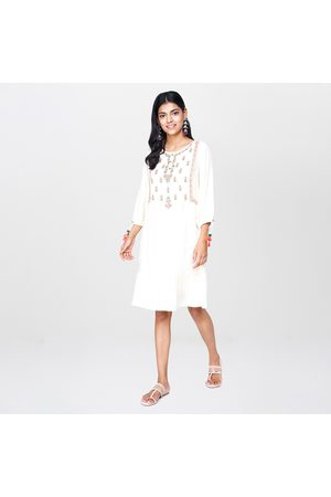Global Desi Women Embroidered Tiered A-line Dress