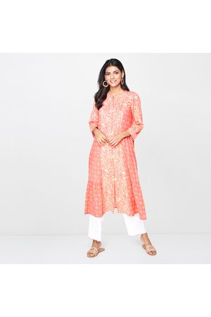 Global Desi Women Printed Three-Quarter Sleeves Flared Kurta