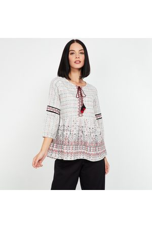 Global Desi Women Printed Top with Tasselled Tie-Up
