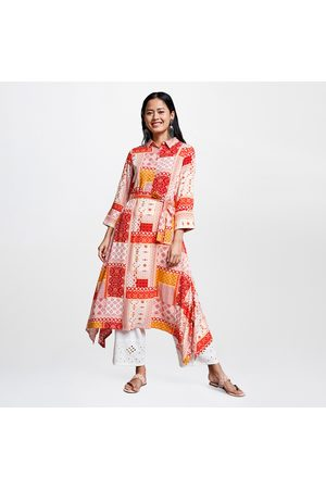 Global Desi GLOBALDESI Women Printed Flared Kurta with Dipped Hems