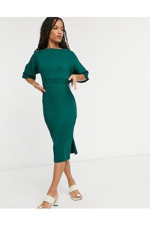 Closet Ribbed pencil dress with tie belt in emerald