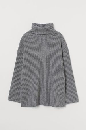 H&M Ribbed polo-neck jumper - Grey