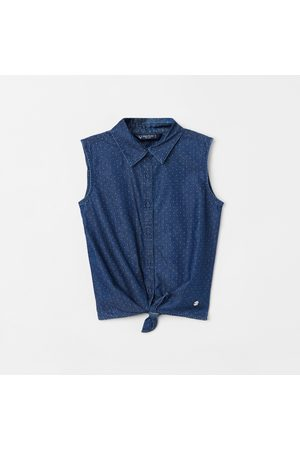 Allen Solly Girls Textured Sleeveless Shirt with Tie-Up