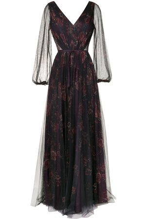 Marchesa Notte Bridesmaids Sheer floral maxi dress