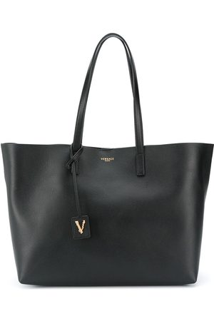 VERSACE Logo detail leather tote bag