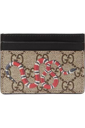 Gucci Printed Monogrammed Coated-Canvas and Leather Cardholder