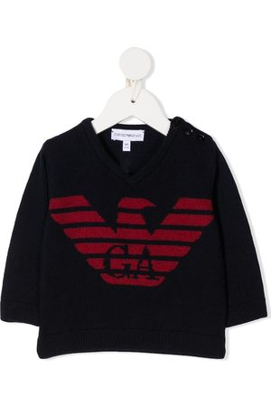 Emporio Armani Kids Long Sleeve - Long-sleeved knitted logo jumper