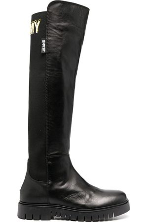 Tommy Hilfiger Knee-length embroidered logo boots