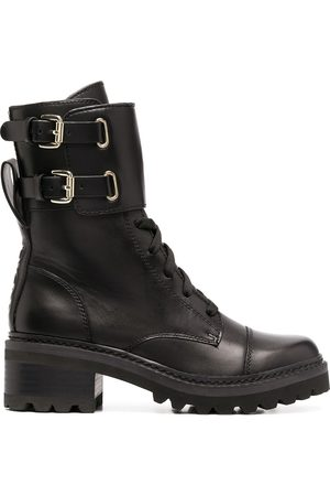 DKNY Women Lace-up Boots - Lace-up side buckle boots