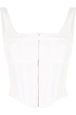 DION LEE Women Tank Tops - Corset square neck top