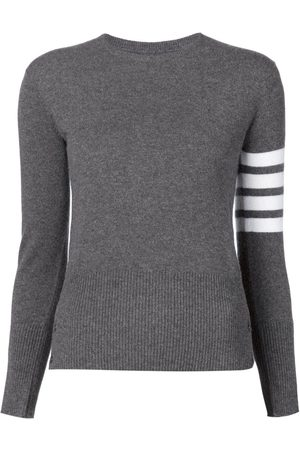 Thom Browne Crew neck Pullover With White 4-Bar Stripe In Cashmere