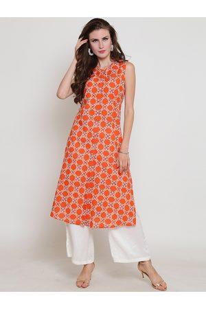 Sera Women Orange & White Printed Kurta with Palazzos