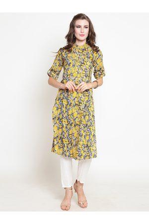 Sera Women Yellow & Grey Printed Kurta with Palazzos