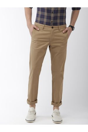Indian Terrain Men Brown Brooklyn Slim Fit Solid Regular Trousers