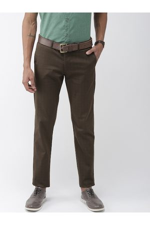 Indian Terrain Men Brown Brooklyn Slim Fit Self-Checked Smart Casual Trousers