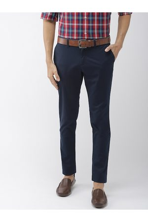 Indian Terrain Men Navy Blue Urban Tapered Fit Solid Smart Casual Chinos