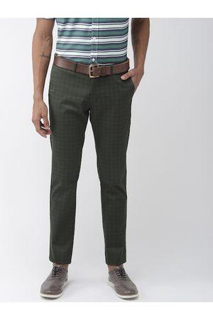 Indian Terrain Men Green & Black Brooklyn Slim Fit Checked Regular Trousers