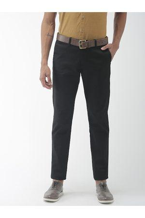Indian Terrain Men Black Brooklyn Slim Fit Solid Regular Trousers