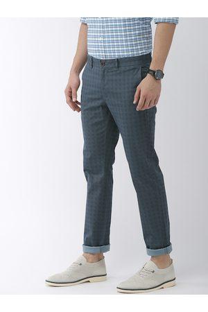 Indian Terrain Men Blue Brooklyn Slim Fit Checked Regular Trousers