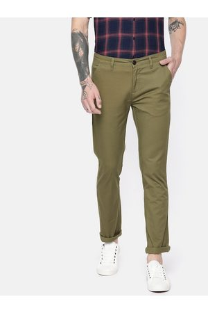 Pepe Jeans Men Chinos - Men Olive Green Bonobo Slim Fit Solid Chinos