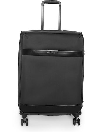 DKNY Unisex Black Solid Mens Ace Soft-Sided Large Trolley Suitcase
