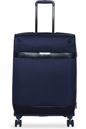 DKNY Unisex Navy Blue Solid Mens Ace Soft-Sided Large Trolley Suitcase