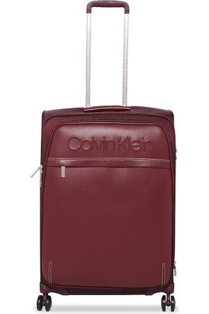 Calvin Klein Unisex Red Solid West 34th ST-Embossed Soft-Sided Medium Trolley Suitcase