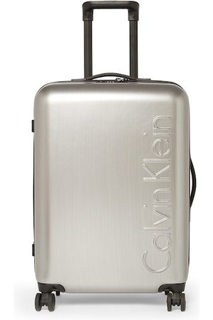 Calvin Klein Unisex Silver-Toned Solid The Standard HS Hard-Sided Medium Trolley Suitcase