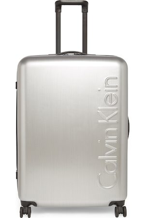 Calvin Klein Unisex Silver-Toned Solid The Standard HS Hard-Sided Large Trolley Suitcase
