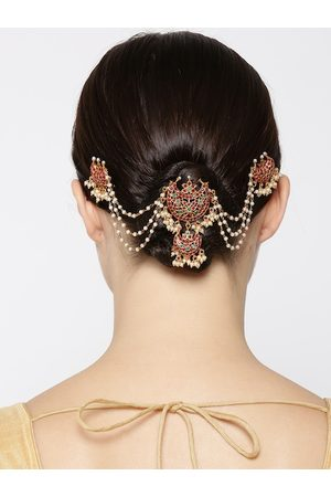 Priyaasi Red & Green Gold-Plated Stone-Studded Hair Bun Pin with Chain