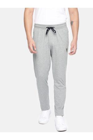 Van Heusen Athleisure Men Grey Melange Solid Smart Tech Slim Fit Track Pants