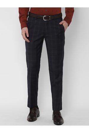 Simon Carter Men Navy Blue Slim Fit Checked Formal Trousers