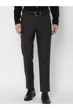 Simon Carter Men Grey Slim Fit Checked Formal Trousers