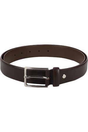 Peter England Men Brown Woven Design Leather Belt