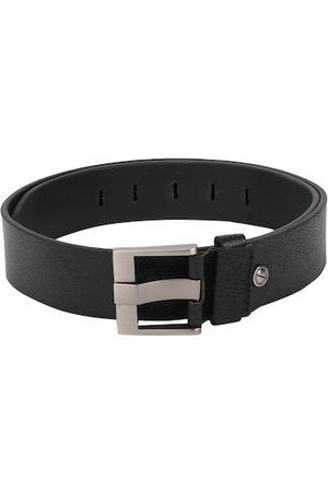 Peter England Men Black Woven Design Leather Belt