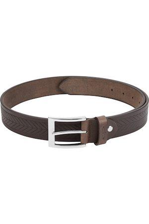ColorPlus Men Brown Textured Leather Belt