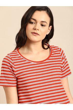 ether Women Coral Orange & White Striped Round Neck T-shirt