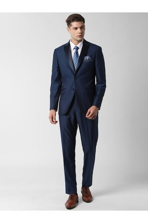 Peter England Men Navy Blue Self-Design Single-breasted Slim-Fit Formal Suit