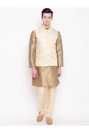 Mag Men Jackets - Men Beige & Cream-Coloured Solid Kurta with Churidar & Nehru Jacket