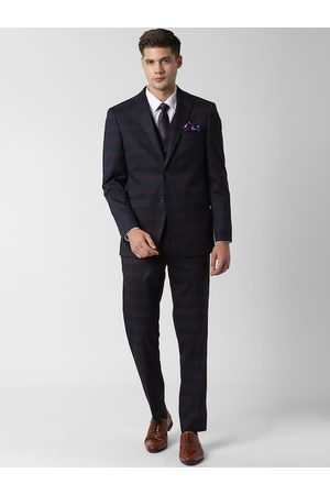 Peter England Men Navy Blue & Maroon Striped Single-breasted Slim-Fit Formal Suit