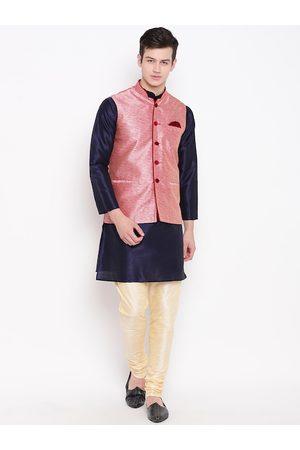 Mag Men Jackets - Men Navy Blue & Cream-Coloured Solid Kurta with Churidar & Nehru Jacket