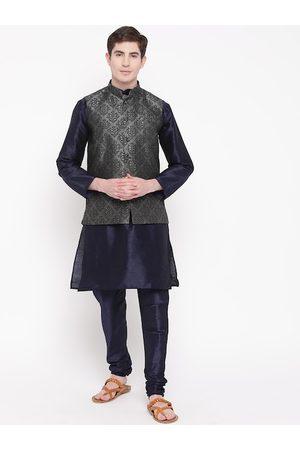 Mag Men Navy Blue & Charcoal Grey Solid Kurta with Churidar & Nehru Jacket