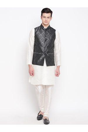 Mag Men Off-White & Black Solid Kurta with Churidar & Nehru Jacket